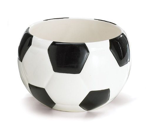Decorative Ceramic Soccer Ball Planter / Candy Dish, Black & White, Medium, 3.5