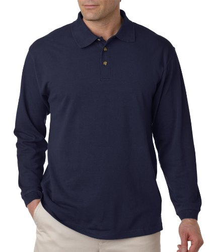(8532 UltraClub Adult Long-Sleeve Classic Piqué Polo (Navy) (4XL))