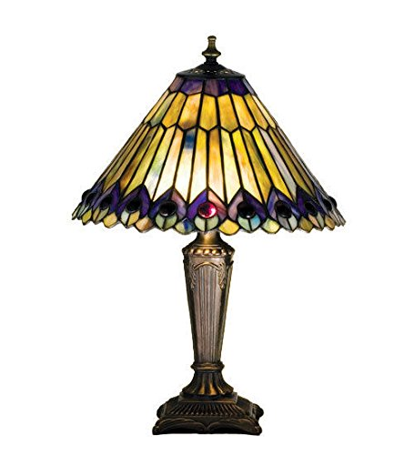 (Tiffany Style Stained Glass Light Jeweled Peacock Accent)