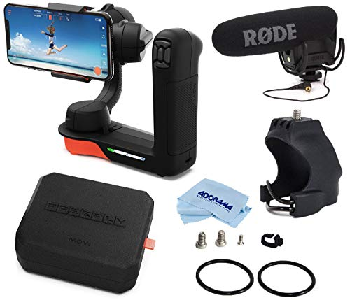 Freefly Movi Cinema Robot Handheld 3 Axis Gimbal Stabilizer for iPhones and Smartphones + Rode Video MicPro Compact Directional On-Camera Microphone + Movi Hoodie Accessory Mount