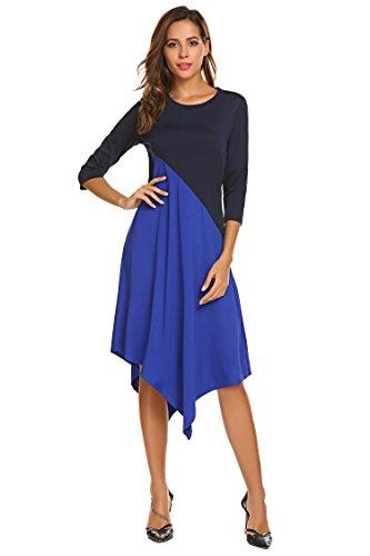 Bulges Dark Patchwork Blue Contrast Sleeve 3 Asymmetrical Color Dress Women 4 rRzOrY