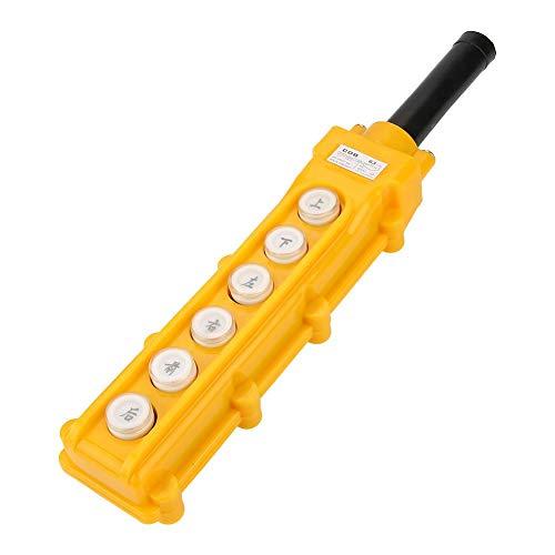 Crane Chain Hoist Switch 6-Channel Push Button Lifting Pendant Controller Rainproof