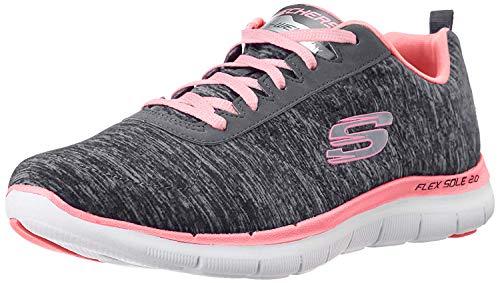 Skechers Women's Flex Appeal 2.0 Sneaker,black coral,8 M US (Best Walking Sneakers For Wide Feet)