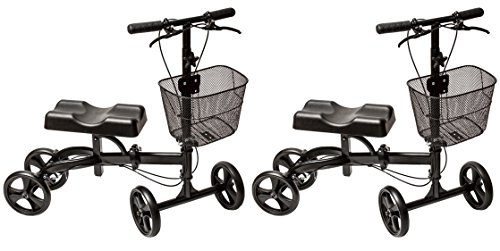 [2 PCS] Folding Medical Knee Walker (Matte Black) - The Only Rollabout Knee Scooter Engineered to Turn on a Dime by Health Port