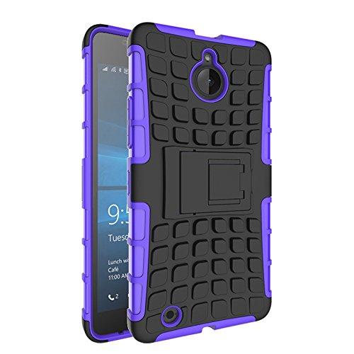 Microsoft Lumia 850 Funda,COOLKE Duro resistente Choque Heavy Duty Case Hybrid Outdoor Cover case Bumper protección Funda Para Microsoft Lumia 850 - Rojo púrpura