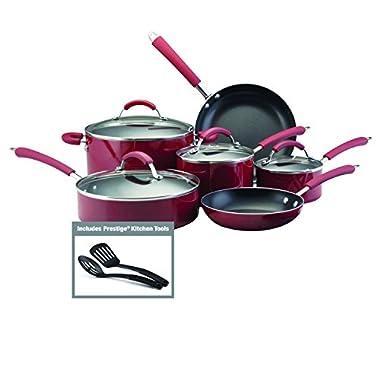 Farberware Millennium Colors Nonstick Aluminum 12-Piece Cookware Set, Red