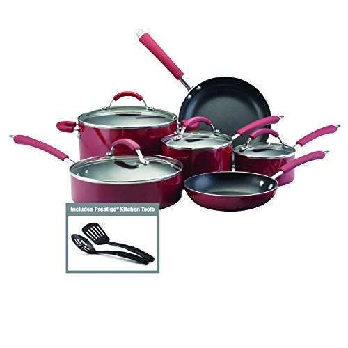 Farberware Millennium Colors Nonstick Aluminum 12-Piece Cookware Set, Red (Cookware Teflon compare prices)