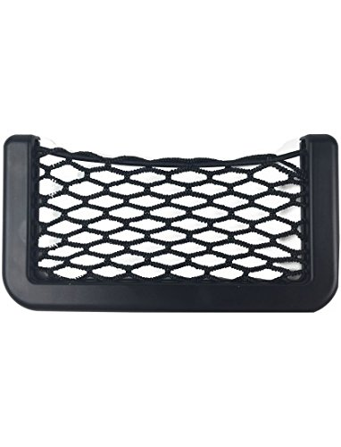 Simply NET01 Quality Storage Black Net Pocket, 15 x 8cm, Holding Phone Wallet Keys and Small Items, Attaching to Inside of Car Door, Tidy and Organized, Easily Fitted & Removed