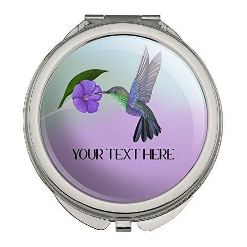 Personalized Custom Hummingbird 1 Line Compact Travel Purse Handbag Makeup Mirror