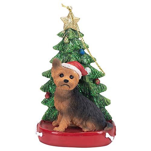 K. Adler Yorkshire Terrier 4 Inch Santa Dog Resin Christmas Ornament