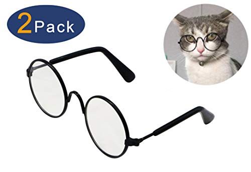 YAODHAOD Pet Dog Cat Sunglasses, Classic Retro Round Metal Prince Princess Sunglasses,Photo Props Toys,Puppy Cat Teacher Bachelor Cosplay Glasses for Small Dog Cat(2 PCS ()