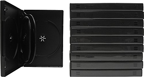 (10) Black Five Quantity DVD Empty Replacement Boxes with Wrap Around Sleeve #DV5R22BK (22mm) - Disk Replacement Five