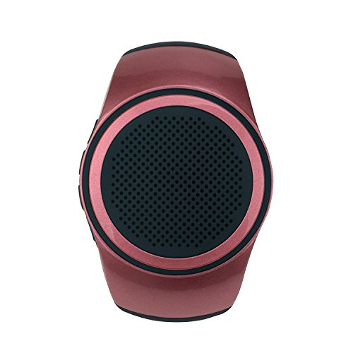 SUERSUN Speaker Watch, Wearable Speaker Mini Multifunctional Bluetooth Sports Speaker, TF Card MP3 Music Player, FM Radio, Handsfree, Selfie, Red Photo #3