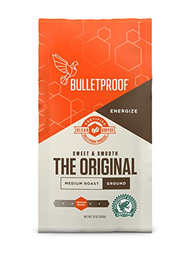 Bulletproof The Original Ground Coffee, Premium Medium Roast Gourmet Organic Beans, Rainforest Alliance Certified, Perfect for Keto Diet, Upgraded Clean Coffee (12 Ounces)