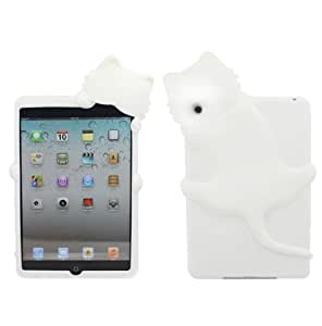 Yuersal White Cute Animal shaped silicone 3D Cat- Gel Silicone Rubber Soft Case Cover Skin for Apple iPad Mini with Earphone Anti Dust