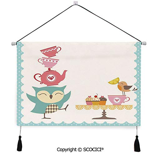 Cupcake Wars Host (SCOCICI Durable Material Multipurpose W24xL17inch Wall Hanging Tapestry Owl at Tea Party Bird with Lemon Cupcakes and Teacups Vintage Design Border Art Decorative Painting Living Room Painting)
