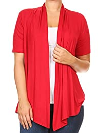 BNY Corner Women Plus Size Short Sleeve Cardigan Open Front Casual Cover up