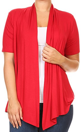 Casual Corner Clothes (BNY Corner Women Plus Size Short Sleeve Cardigan Open Front Casual Cover Up Red 1X 433 SD)
