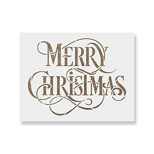 Merry Christmas Stencil - Perfect Stencil for Painting Wood Signs - Reusable Stencils for Christmas with Fast Shipping (Lettering Stencils Christmas)