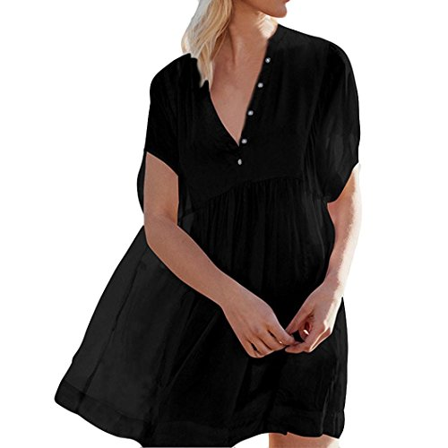 Big Promotion!Wintialy Women Button Long Sleeve Dress Suit Bikini Swimwear Beach Sexy Swimsuit Smock (T-shirt Button Power Black)