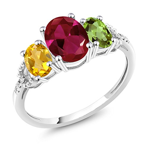 Gem Stone King Build Your Own Ring - Personalized 3-Birthstone 10K Gold Diamond Accent Ring (Size 8)