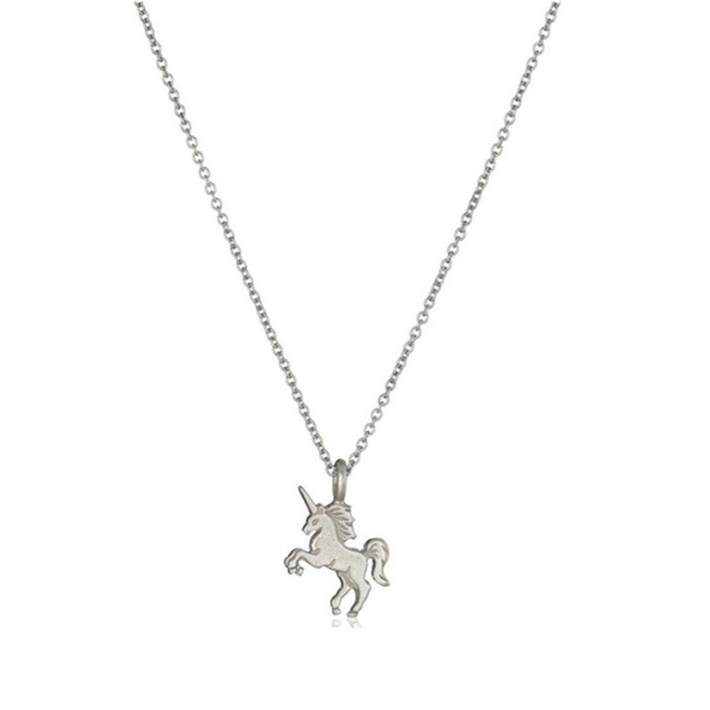 HENGSONG Women Girls Plated Silver Alloy Unicorn Necklace Pendant Charms Chain for Christmas Gift