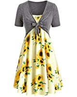 3882171878 Women Dresses Casual Summer Short Sleeve Bow Knot Cover Up Tops Sunflower  Print Strap Midi Dress
