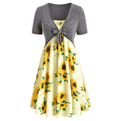 Dresses for Women Casual Summer Short Sleeve Bow Knot Cover Up Tops Sunflower Print Strap Midi Dress Pleated Sun Dresses Gray Yellow