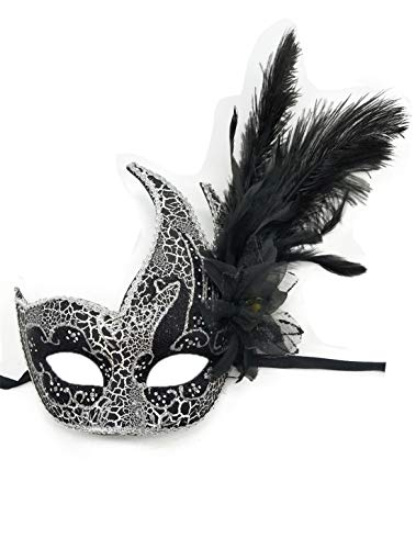 Feather Masquerade Mask Halloween Mardi Gras Cosplay Costumes Venetian Party Mask (Cracked Black)