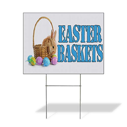 Plastic Weatherproof Yard Sign Easter Baskets with an Image Rabbit Easter Red Easter Basket for Sale Sign Multiple Quantities Available 18inx12in One Side Print One Sign]()
