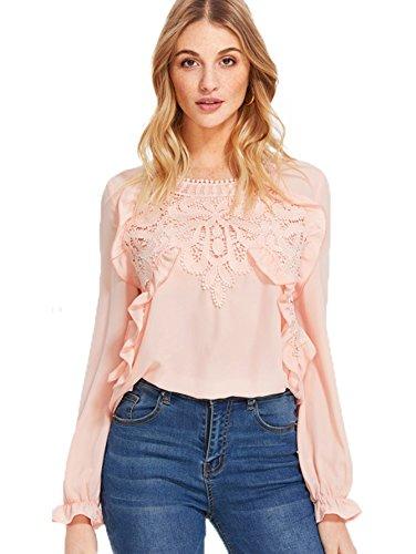 Romwe Women's Elegant Long Sleeve Applique Keyhole Ruffle Blouse Tops Pink X-Large (Fashion Keyhole)