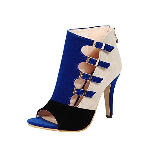 Carolbar Femmes Zip Multi Boucle Couleurs Assorties Sexy Chic Peep Toe Haute Talon Aiguille Robe Été Bottes Bleu