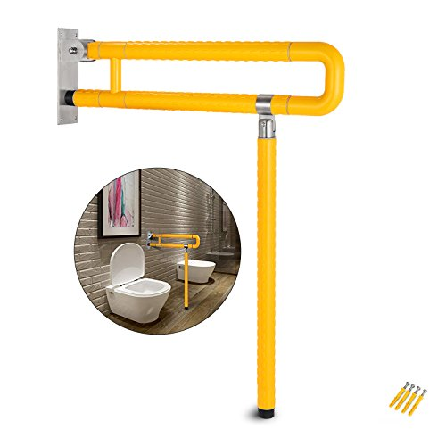 VEVOR Foldable Toilet Grab Bar Safety Frame Rails Flip-up Skid Resistance Handicap Bathroom Seat Support Bar Toilet Hand Grips for Home Hotel Disabled Aid Pregnant Elderly R-Shape Rail (Yellow R) by VEVOR