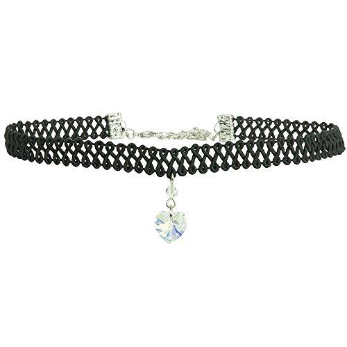 Twilight's Fancy Swarovski Crystal Heart Pendant Choker (Crystal Aurora Borealis AB, Large) ()