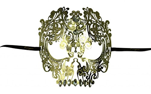 KAYSO INC Metal Day of The Dead Skull Laser Cut Masquerade Mask, Gold with Clear Rhinestones -
