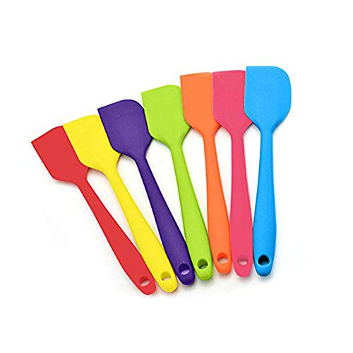 LUCKSTAR Silicone Spatula - 7pcs Cooking Silicone Spatula Set Heat-Resistant Spatulas Non-stick Rubber Spatulas with Stainless Steel Core Chocolate Cream Mixing Spatula Butter Cake Turnable Spatula