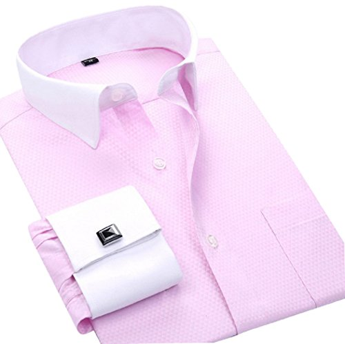 French Designer Dresses - sweattang New Mens Formal Italian Designer Cufflinks French Cuff Dress Shirts (Pink, XXL)