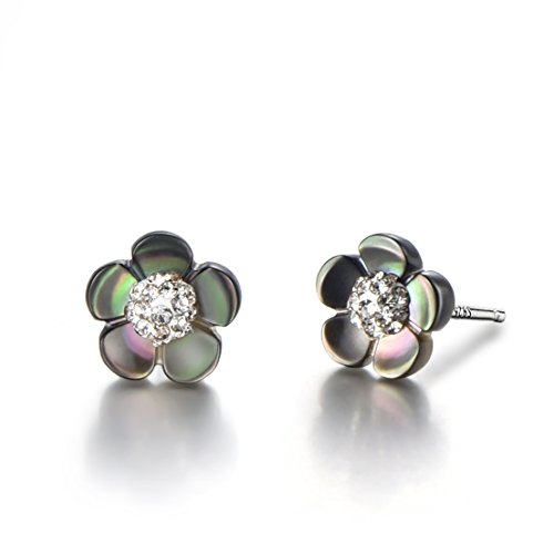 Silver Shell Post (925 Sterling Silver Post Freshwater Cultured Pearl AAA Studs Earrings with Mother of Pearl Shell Flower ( pearl flowe-5 petals))
