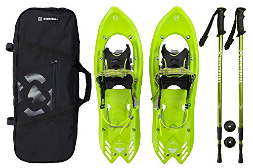 Winterial Yukon Snowshoes 25-Inch Lightweight All Terrain Green Snow Shoes with Carry Bag and Adjustable Poles