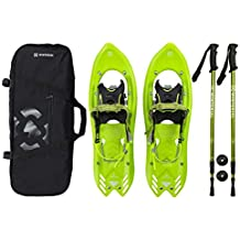 """Winterial Yukon Snowshoes 25"""" Lightweight All Terrain Green Snow Shoes Carry Bag Adjustable Poles"""