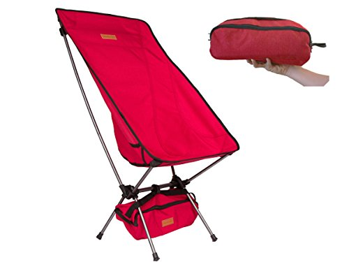 Trekology Compact Portable High Back Camping Chair with Head Rest - Ultralight Backpacking Chair in a Bag for Camping, Beach, Backpacking, Fishing, Picnic, Patio, Sports, Events