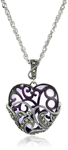 Sterling Silver Oxidized Genuine Marcasite and Amethyst Colored Glass Heart Pendant Necklace, 18""