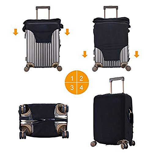 Travel Luggage Cover Hello Kitty Black Luggage Protector Suitcase Cover Fits 18-32 Inch Luggage