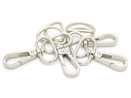 Oval Hook Set - CRAFTMEmore 10 Sets SILVER Plate Swivel Snap Hooks Lobster Clasp Push Gate Fashion Clips with D rings Bag Leather Craft Accessories (1 Inch)