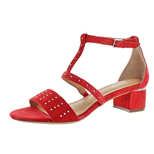 Calvin Klein Divina Women's Suede Open Toe Studded Shoes Lipstick Red Size 7.5