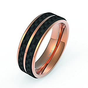 Amazon 75mm Rose Gold Plated Stainless Steel Wedding Band Combined With Solid Carbon Fiber