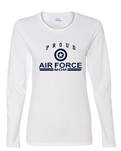 Long Force Sleeve Air T-shirt (Proud Air Force Mom Long Sleeve T-Shirt US Air Force USAF White M)