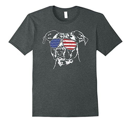 Mens American Staffordshire America Flag Sunglasses T-Shirt dog 2XL Dark Heather