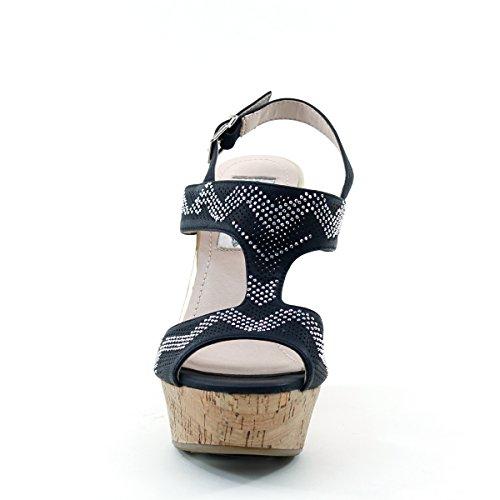 Gloednieuw Briete Womens Strass Gesp Peep Toe Platform Wig Sandalen Zwart