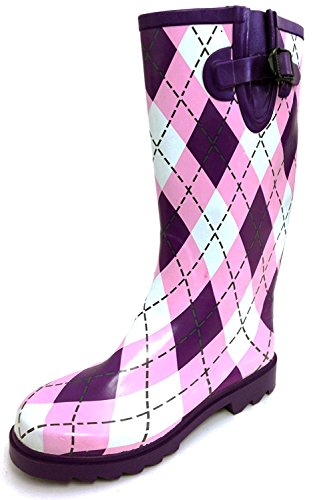 Knee Wellies Buckle Pink Rubber Shoes High Boots G4U Snow Color Styles Fashion amp; Rain Calf Mid Women's Purple Argyle Plaid Multiple x8wwzqPU7F